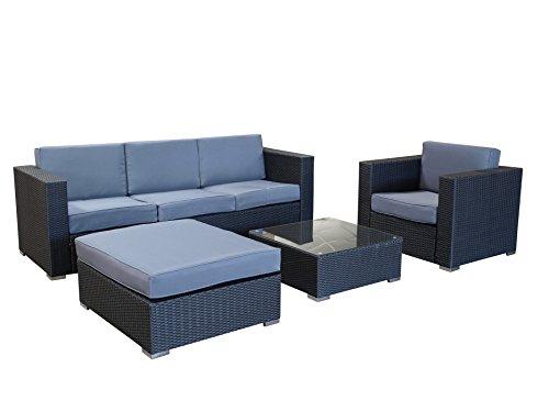 Exclusive Loungegruppe 4-teilig, Aluminium + Polyrattan schwarz, mit Polstern grau
