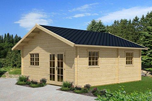 Ferienhaus F11 inkl. Fußboden - 70 mm Blockbohlenhaus, Grundfläche: 36,00 m², Satteldach