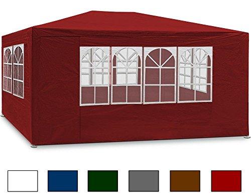 Festzelt rot Maui 3x4m Farbauswahl Seitenwände Rundbogenfenster Verankerbar Partyzelt Pavillon ✔ 12qm ✔ UV-Schutz +50