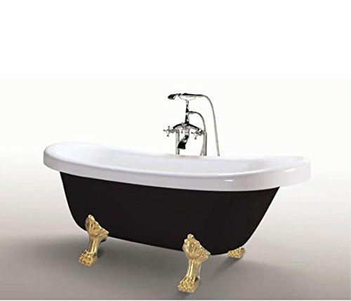 Freistehende Badewanne Acryl Antik Nostalgie Standarmatur Silber Badezimmer Fuß gold
