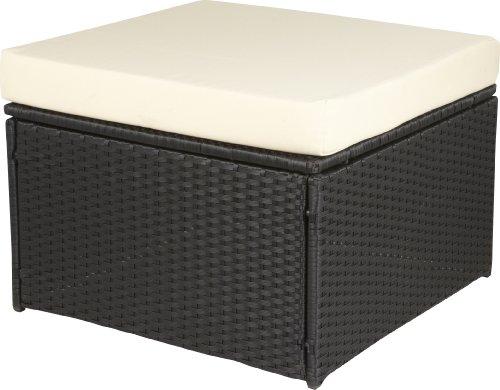gartenfreude hocker polyrattan aluminiumgestell wetterfest schwarz 4 faser 60 x 60 x 35 cm. Black Bedroom Furniture Sets. Home Design Ideas