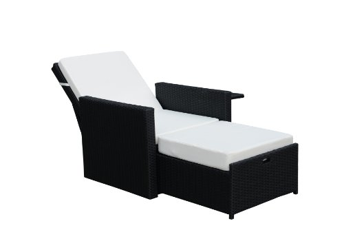 gartenfreude liege sessel polyrattan mit verstellbarer r ckenlehne aluminiumgestell schwarz 4. Black Bedroom Furniture Sets. Home Design Ideas