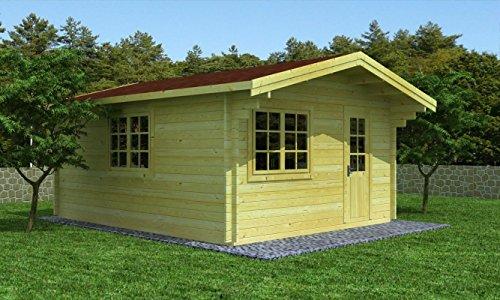 Gartenhaus 12, Maße: 4,00 x 5,00 Meter aus 44 mm Blockbohlen, inkl. Fußboden