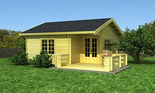Gartenhaus 13, Maße: 5,80 x 6,00 Meter aus 70 mm Blockbohlen, inkl. Fußboden und Terrasse