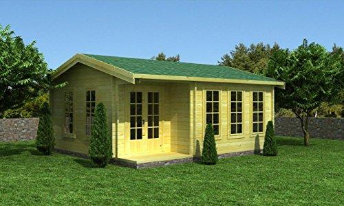 Gartenhaus 14, Maße: 5,80 x 5,50 Meter aus 70 mm Blockbohlen, inkl. Fußboden