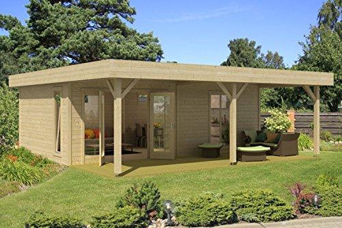 Gartenhaus G149 inkl. Fußboden und Schleppdach - 44 mm Blockbohlenhaus, Grundfläche: 45,50 m², Flachdach
