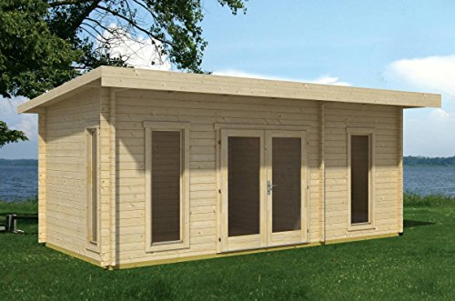 Gartenhaus G17 inkl. Fußboden - 44 mm Blockbohlenhaus, Grundfläche: 17,50 m², Pultdach