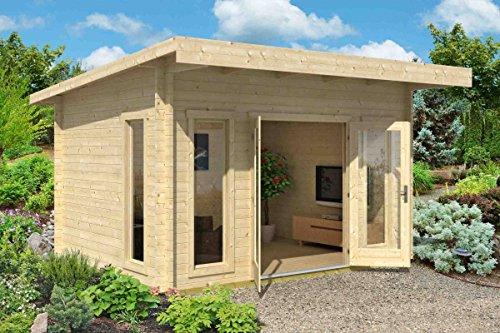 Gartenhaus G19 inkl. Fußboden - 44 mm Blockbohlenhaus, Grundfläche: 12,30 m², Pultdach