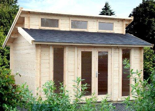 Gartenhaus LANGEOOG - B40 Blockhaus 410x410cm - 40mm - Inkl. Fußboden+Verglasung Gartenlaube Holzhaus Holzlaube