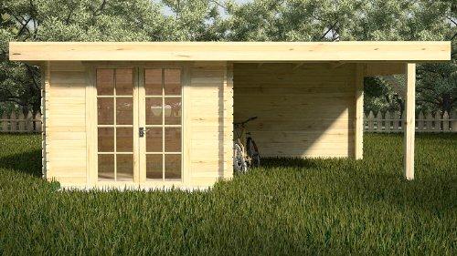 Gartenhaus STUTTGART Blockhaus 300cmx350cm + 300cmx350cm Anbau - 28mm