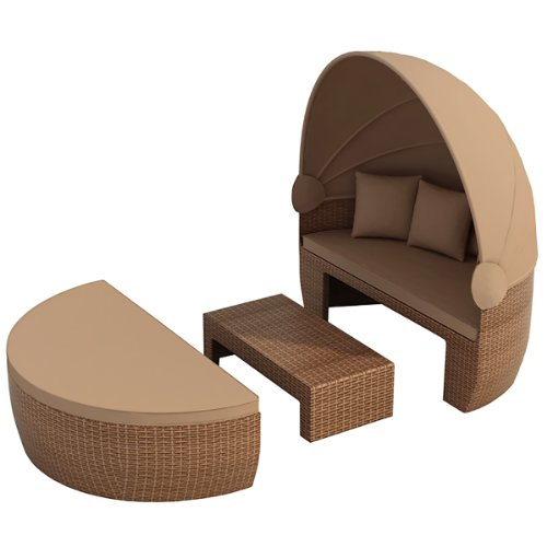 garteninsel bozen brown brown sonnenliege liege aus aluminium polyrattan rattan insel garten. Black Bedroom Furniture Sets. Home Design Ideas