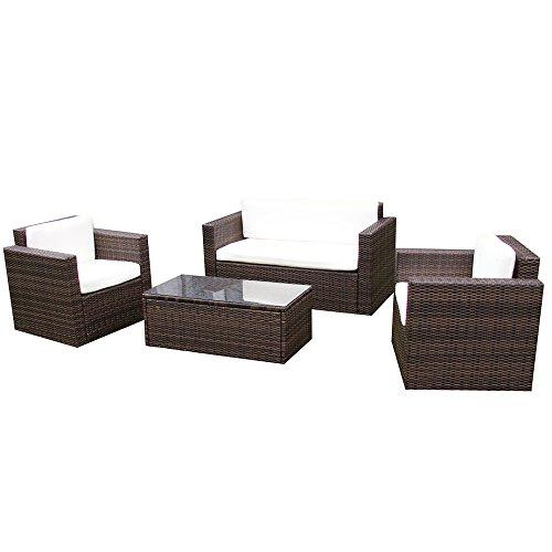 Jet-Line Gartenmoebel Garten Lounge Set Sitzmoebel Cannes braun Rattan Lounge Polyrattan Gartenausstattung braun Terrase Balkon Möbel Sofa Sessel Tisch aus echtem Polyrattan