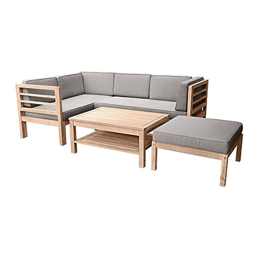 Gartenmöbel-Set variabel platzierbar 2 Sitzelemente 1 Gartentisch 1 Hocker-Sessel