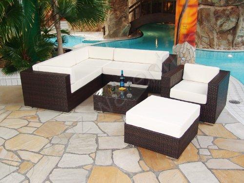 Gartenmöbel / Sitzgruppe Polyrattan schwarz - Modena 5