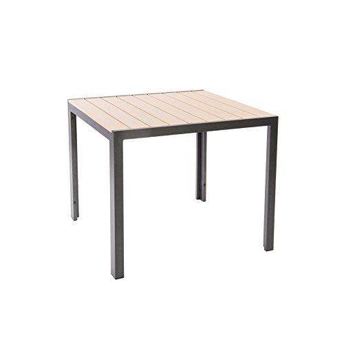 Gartentisch Alu / Holz Dielen Optik von MACO - Polywood Tisch 90x90 cm braun anthrazit