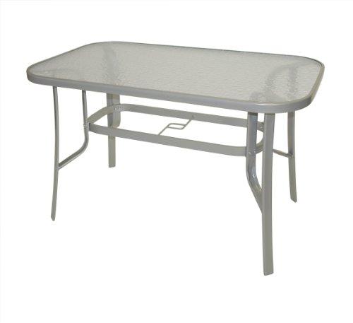 gartenmoebel-einkauf Gartentisch Florenz 70x120cm aus Metall + Glas, silberfarben