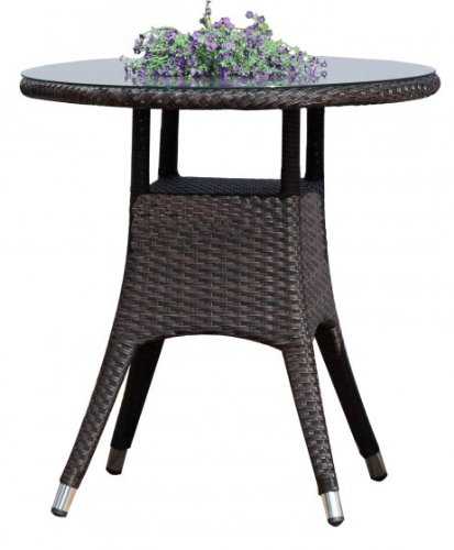 gartentisch kaffeetisch rund mit glasplatte poly rattan coffee m bel24. Black Bedroom Furniture Sets. Home Design Ideas