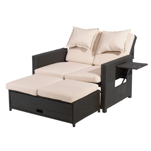 greemotion rattan lounge bahia sofa bett aus polyrattan indoor outdoor 2er garten sofa. Black Bedroom Furniture Sets. Home Design Ideas