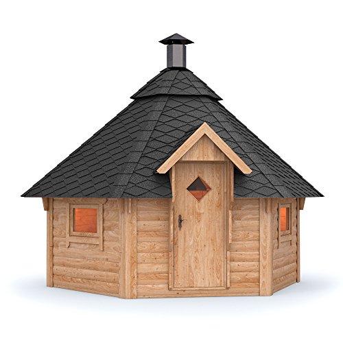 Grillkota Pavillon Dacheindeckung wählbar inkl. Grillanlage ca. 9m² (Schwarze Schindel)