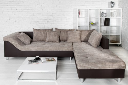 gro es ecksofa sultan dunkelbraun strukturstoff cappuccino ot rechts m bel24. Black Bedroom Furniture Sets. Home Design Ideas