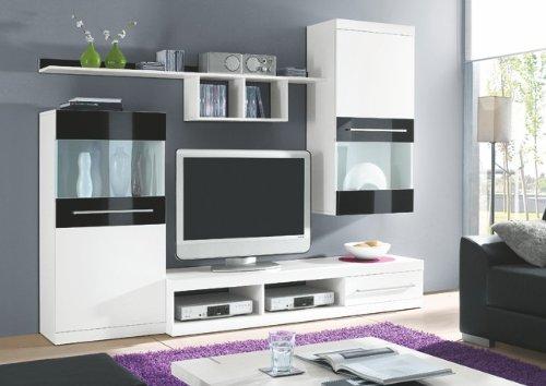 hbz wohnwand abano wei schwarz hochglanz m bel24. Black Bedroom Furniture Sets. Home Design Ideas