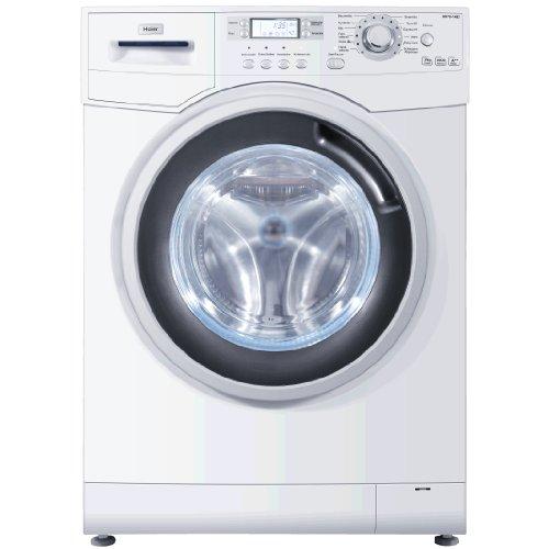 Haier HW80-1482 Waschmaschine FL / A+++ / 185 kWh/Jahr / 1400 UpM / 8 kg / 9856 L/Jahr / Blaue Anti-Bakterielle Türmanschette und Waschmittelschublade / AquaProtect Schlauch und Überlaufsensor in der Bodenwanne / weiß
