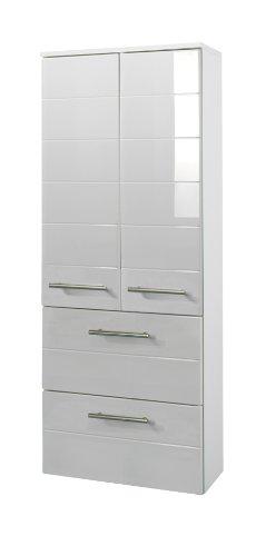 Held Möbel 231.2084 Rimini Midischrank 2-türig, 2 Schubkästen, 2 Einlegeböden, 50 x 130 x 27 cm, hochglanz weiß