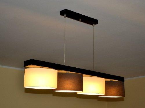 Hängelampe Hängeleuchte Pendellampe TOP Designer Lampe ROMA 4 flammig Edel (Braun - Creme)