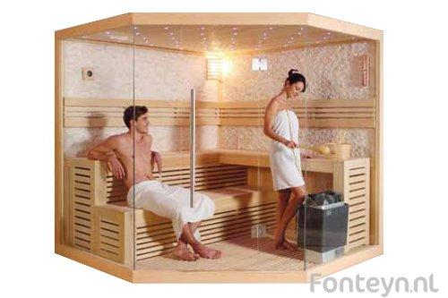 Hochwertige Massivholzsauna aus afrikanischem Abachiholz 4-6 Personen Sauna - inklusive Ofen