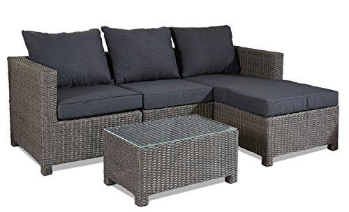 Hochwertige Polyrattan Sitzgruppe Grau inkl Kissen Stahl Gestell Lounge Garten Sofa