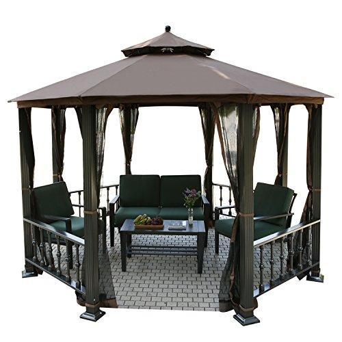 Homdox Luxus ALU Pavillon Gartenpavillon Gartenzelt Partyzelt Gazebo Gartenmöbel Pergola mit Moskitonetz, Brüstungen