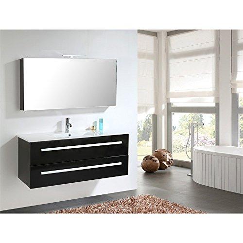 home deluxe badm bel set wilhelmshaven schwarz hochglanz inkl waschbecken und komplettem. Black Bedroom Furniture Sets. Home Design Ideas