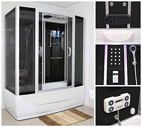 home deluxe diamond schwarz duschtempel inkl whirlpool und dampfsauna m bel24. Black Bedroom Furniture Sets. Home Design Ideas