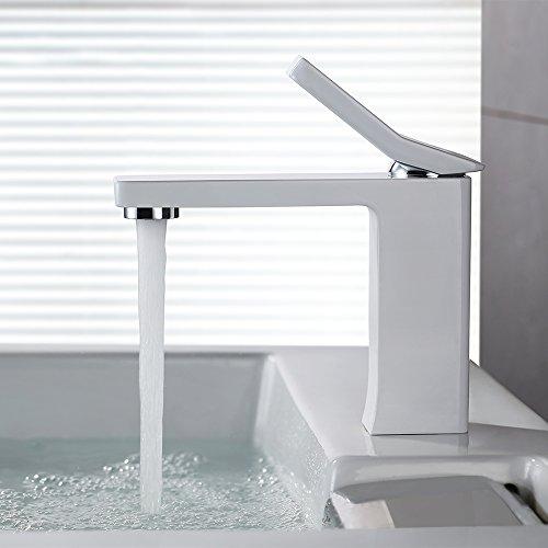 homelody weiss lack einhebelmischer wasserhahn bad armatur waschtischarmatur waschbeckenarmatur. Black Bedroom Furniture Sets. Home Design Ideas