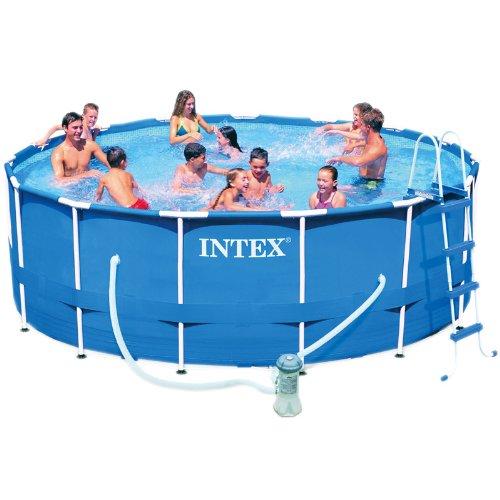 Intex 12-28236 Metall-Frame Pool-Set 457 x 122 cm, Kartuschenfilter 3785 Liter/h, Leiter, Abdeck-/Bodenschutz-plane