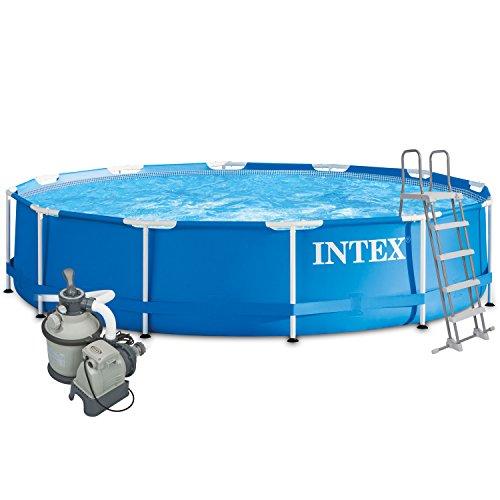 Intex 366x122 Komplettset mit Intex Sandfilteranlage 4m³, Intex Sicherheitsleiter, Intex Anschlusset, Solarfolie Swimming Pool Schwimmbad Frame Metal Stahlwand