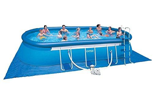 Intex Aufstellpool Oval Frame Pool Set, Blau, 610 x 366 x 122 cm