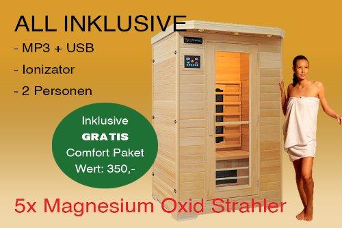 Ivar-2 LUXUS 2 Pers. Infrarotkabine & Infrarotsauna/Infrarot Wärmekabine + MP3 CD Radio + Ionizer + LED Lampen + Leselampe ALL IN + 1750 Watt