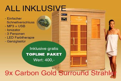 Ivar-3 Topline 3 Personen Infrarotkabine & Infrarotsauna / 1900 Watt / Infrarot Wärmekabine und viele Extras