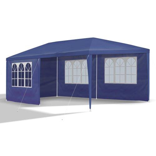 JOM Gartenpavillon inklusiv 6 Seitenwände, 4 x Fenster, 2 x Komplett geschlossen, Kunststoffverbinder, Heringe und seile, 3 x 6 m, Durchmesser 32 x 0.55 / 24/18 x 0,4 mm, blau