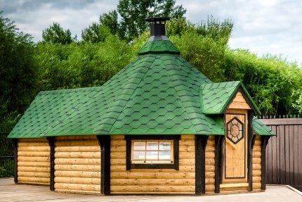 JUNIT GKF16501ES 16,5 m2 Grillkota mit Saunaanbau aus für ca. 16 Personen