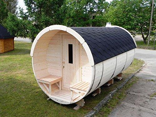 JUNIT SFF19351 Ø 1,9 m, L 3,5 m, Saunafass, Fichte mit und ohne Terrasse für 6 Personen