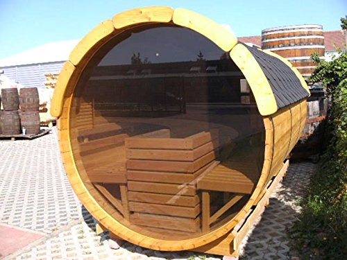 JUNIT SFF19352 Ø 1,9 m, L 3,5 m, Saunafass aus Fichte mit Panorama - Glaswand, 1m Vorraum ohne Terrasse für 6 Personen