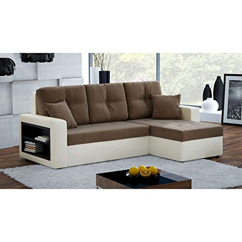 justhome metro i ecksofa polsterecke schlafsofa ecoleder mikrofaser bxlxh 143x279x93 cm beige. Black Bedroom Furniture Sets. Home Design Ideas