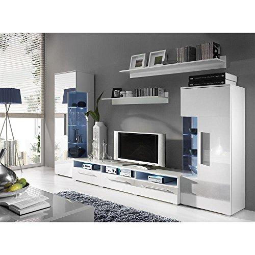justyou romo wohnwand anbauwand schrankwand farbe wei matt wei hochglanz m bel24. Black Bedroom Furniture Sets. Home Design Ideas