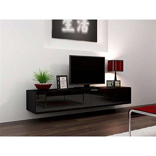 JUSThome Vigo Lowboard TV-Board Fernsehtisch 180 cm Farbe: Schwarz Matt / Schwarz Hochglanz