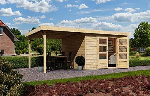 KARIBU Gartenhaus Arnis 3, BxT: 242x217 cm, mit Schleppdach (ca. 220 cm breit) Natur