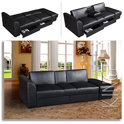 """KING"" Funktionssofa Schwarz Schlafsofa Sofa Kunstleder Bettsofa Lounge Couch"