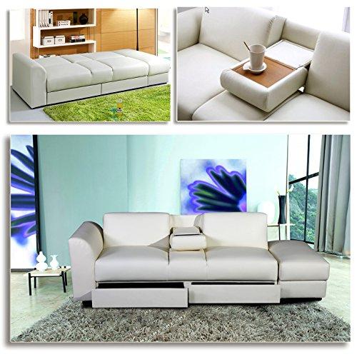 """KING"" Funktionssofa Weiss Schlafsofa Sofa Kunstleder Bettsofa Lounge Couch"