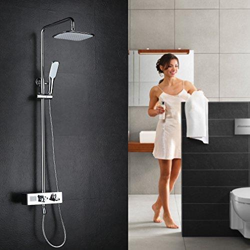 kinse elegant duscharmatur set lcd digital temperatur unterputz dusch set brausestangenset. Black Bedroom Furniture Sets. Home Design Ideas
